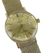 TISSOT AUTOMATIC 'SEASTAR SEVEN' 9CT GOLD WRISTWATCH having integrated 9ct gold strap and date