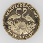 BAHAMAS ELIZABETH II GOLD FIFTY DOLLARS INDEPENDENCE COIN DATED 1973 in box and believed to be 12