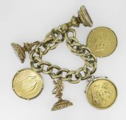 9CT YELLOW GOLD LARGE CURB LINK BRACELET AND ATTACHMENTS including a United States of America twenty