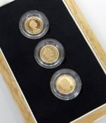 THE FACES OF QUEEN ELIZABETH II GOLD PROOF HALF SOVEREIGN THREE COIN SET dated 1983, 1985 and 2006