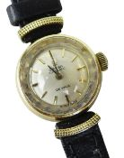 18K YELLOW GOLD LADIES OMEGA AUTOMATIC DE VILLE WRISTWATCH, numbered to inside of back cover '
