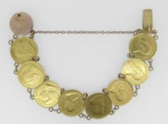 GOLD COIN BRACELET comprising 8 gold South African 1/2 pond 1897 coins, the clasp engraved '