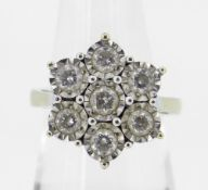 9CT YELLOW GOLD SEVEN STONE DIAMOND ILLUSION SET CLUSTER RING, 5.8 grams. Condition Report: