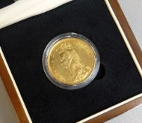 THE QUEEN VICTORIA GOLD DOUBLE SOVEREIGN OF 1887, Jubilee head, in presentation box with Certificate