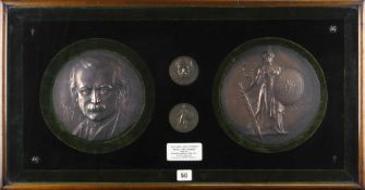 FRANK BOWCHER case presented pair of bronze medallions and similar miniatures - to commemorate David