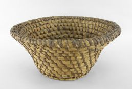 CARDIGANSHIRE LIP-WORK CIRCULAR BASKET of tapered form, traditionally crafted from wheat straw coils