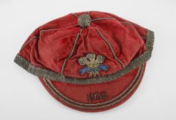 WELSH RUGBY UNION CAP 1935 date to peak, embroidered Prince of Wales feathers and detail, maker