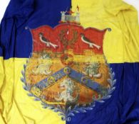 LARGE SILK BANNER PAINTED WITH VERSION OF THE FAMILY CREST OF THE VIVIAN FAMILY OF SWANSEA 170 x