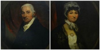 NINETEENTH CENTURY BRITISH SCHOOL oil on canvases, a pair - half portrait of Betsy Vivian (nee