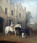EARLY NINETEENTH CENTURY PRIMITIVE SCHOOL oil on canvas - horse mounted lady seated side saddle on a