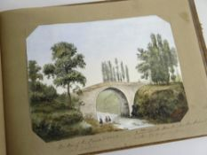 ALBUM OF WATERCOLOURS OF CONTINENTAL SCENES from a 'Grand Tour' type journey from one of the