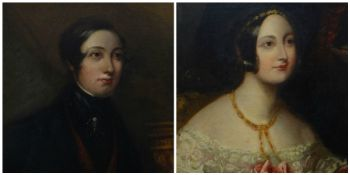 NINETEENTH CENTURY BRITISH SCHOOL oil on canvases, a pair - head and shoulders portrait of a young
