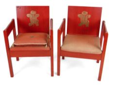 PAIR OF INVESTITURE CHAIRS TOGETHER WITH RELATED SCRAPBOOK an icon of design being the 1969 Prince