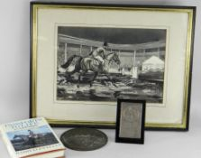 ITEMS RELATING TO LT COL SIR HARRY LLEWELLYN CBE comprising a silver commemorative easel plaque with