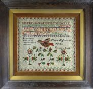 VICTORIAN WELSH WOOLWORK SAMPLER BY PHEBE H GRIFFITHS AGED 11 OF CROES GOCH with alphabets,