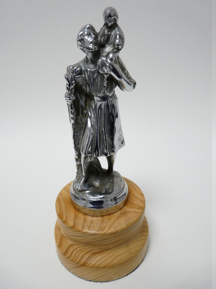 Lot 40 - VINTAGE CAR MASCOT- St CHRISTOPHER possibly by A E Lejeune, 13cms H, circa 1930s.