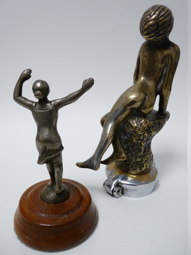 Lot 37 - VINTAGE CAR MASCOTS X 2 to include A E Lejeune, Meditation, LADY seated on a rock, stamped, 16cms H,