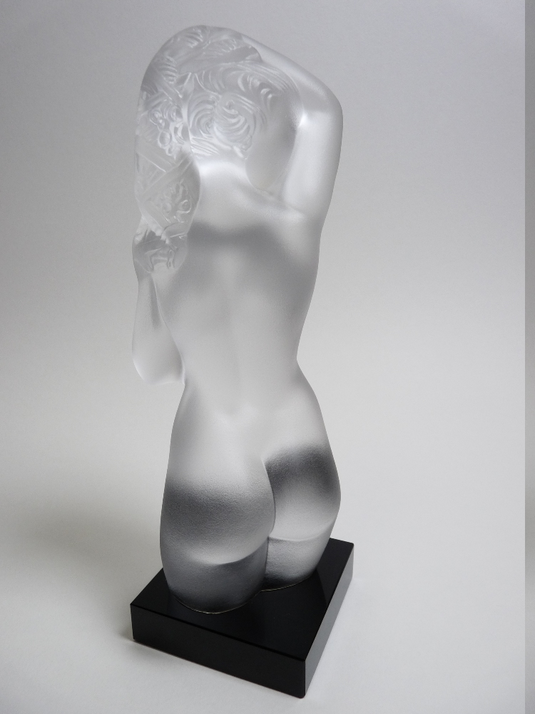 Lot 17 - FROSTED GLASS CAR MASCOT / DESK WEIGHT in the form of a NAKED FEMALE TORSO 18cms H, maker unknown.