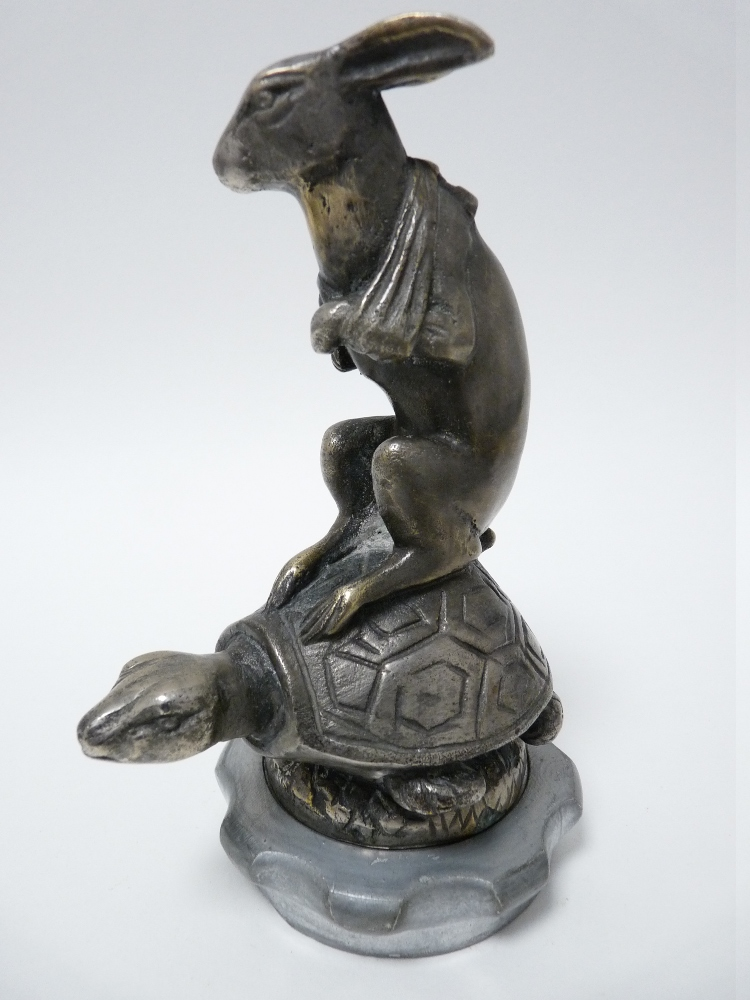 Lot 41 - VINTAGE CAR MASCOT- HARE ON TORTOISE BACK after Henri Payne, French circa 1920, 14cms H.