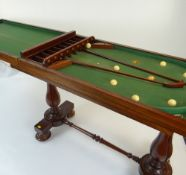 VICTORIAN MAHOGANY BAGATELLE TABLE having a folding top opening to reveal a baize-lined playing