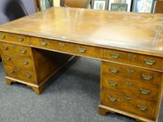 LARGE VICTORIAN STYLE WALNUT PARTNER'S DESK having two banks of flanking four graduated drawers to a