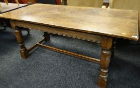 17TH CENTURY-STYLE OAK & ELM REFECTORY TABLE, with turned legs, tied by moulded bar H stretcher, 174