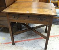 19TH CENTURY OAK SINGLE DRAWER LOW-BOY DESK, 76cms wide