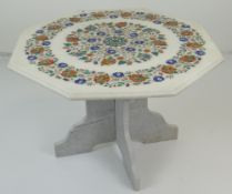 INDIAN PIETRA DURA INLAID WHITE MARBLE CENTRE TABLE of octagonal moulded form, profusely inlaid with
