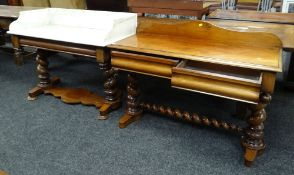 PAIR OF VICTORIAN WALNUT DRESSING TABLE & MARBLE TOPPED WASH STAND, cushion moulded frieze or