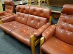 EKORNES NORWEGIAN TEAK FRAMED RECLINING RED LEATHER SOFA SUITE one two-seater and two single (3)