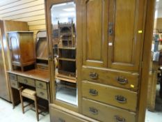 VINTAGE MAHOGANY MIRRORED WARDROBE & CHEST COMBINATION with matching dressing table, together with