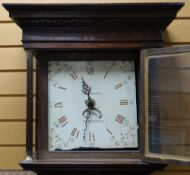 EARLY 19TH CENTURY WELSH OAK 30-HOUR LONGCASE CLOCK, 12-inch enamelled Roman and Arabic dial with