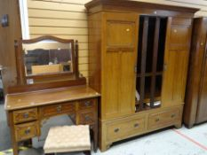 VINTAGE TRIPLE MAHOGANY WARDROBE, matching dressing table with stool and mahogany wash stand (3)