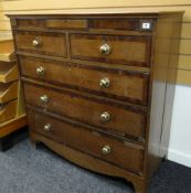 19TH CENTURY OAK & MAHOGANY CROSS-BANDED CHEST with ebony stringing fitted two short, three long