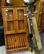 VINTAGE PINE RUSTIC KITCHEN CABINET WITH PLATE RACK, together with a vintage canvas golf bag and