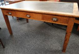 VINTAGE OAK & SIMULATED LEATHER INSERTED THREE-DRAWER DESK, 152 x 91cms Condition Report: overall