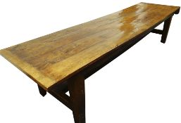 LARGE ANTIQUE JOINED OAK REFECTORY TABLE, four plank top with cleated ends above edge moulded frieze