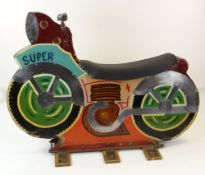 PAINTED WOODEN & METAL FAIRGROUND CAROUSEL MOTORCYCLE 'SUPER', standing on three feet, complete with