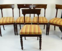 SET OF TEN WILLIAM IV MAHOGANY DINING CHAIRS having tapering stuff-over seats of reeded tapered