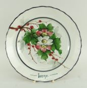 RARE LLANELLY POTTERY DINNER PLATE BY SHUFFLEBOTHAM painted with pink and white briar roses on a