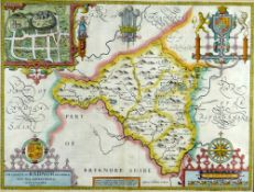 JOHN SPEED antiquarian coloured map - 'The Countie of Radnor described and the shyretownes