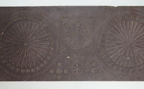 A NINETEENTH CENTURY DYFFRYN OGWEN CARVED SLATE FIREPLACE ORNAMENTATION of horizontal form to be