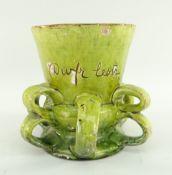 EWENNY POTTERY TYG lime green glazed and inscribed in sgraffito 'Dwfr lestr yr hen Gymru 1677' (