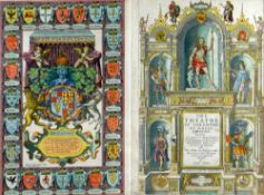 JOHN SPEED rare coloured engraved atlas title-pages - entitled 'The Theatre of the Empire of Great