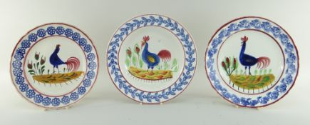 THREE LLANELLY POTTERY COCKEREL PLATES & SIMILAR DISH comprising small plate, 22cms diam, large
