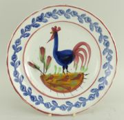LLANELLY POTTERY COCKEREL PLATE being an excellent example with full decoration to the interior,