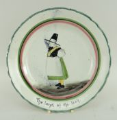 RARE LLANELLY POTTERY DINNER PLATE painted with a standing figure of Mari Jones over the inscription