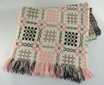 VINTAGE TRADITIONAL WELSH WOOLLEN BLANKET with pink and black geometric design to a cream ground,