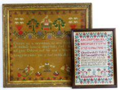 TWO VICTORIAN WELSH LANGUAGE WOOLWORK SAMPLERS the smaller by Elizabeth Price 1847, 48 x 37cms (