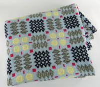 VINTAGE TRADITIONAL WELSH WOOLLEN BLANKET with multi-coloured geometric design to a turquoise